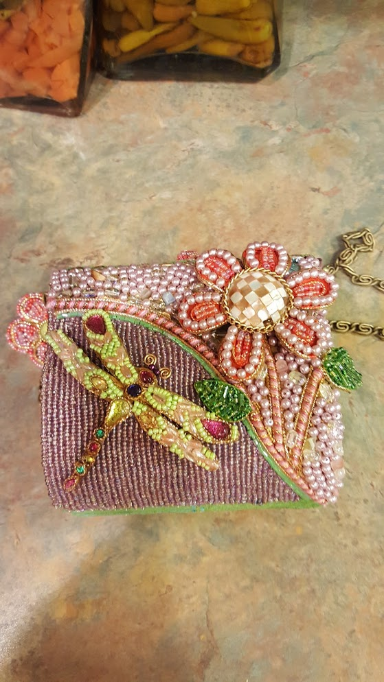Mary Frances Hand Bag with a Dragonfly & Flower Retired Design