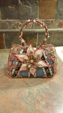 Mary Frances Hand Bag Pink Flower Retired Design