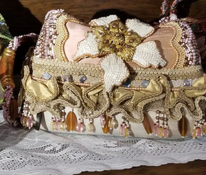 Mary Frances Hand Bag Pink & Gold Flower Retired Design