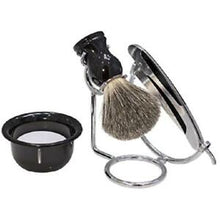 Load image into Gallery viewer, Kingsley Shave Set -Black and Silver Handles, Soap and Stand SB-652