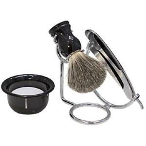 Kingsley Shave Set -Black and Silver Handles, Soap and Stand SB-652