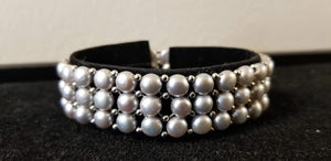 Sterling Silver Freshwater Cultured Pearl 3 Row Stretch Bracelet - Choice of Five Colors