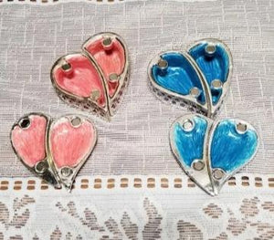 Blue and Pink Heart Trinket Jewelry Box- NEW!