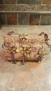 Mary Frances Pink Hand Bag with Three Flowers on the Front Retired Design