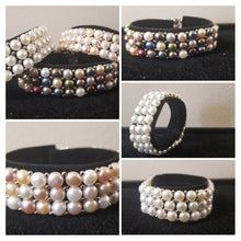 Load image into Gallery viewer, Sterling Silver Freshwater Cultured Pearl 3 Row Stretch Bracelet - Choice of Five Colors