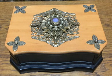 Jeweled Black & Natural Jewelry Box