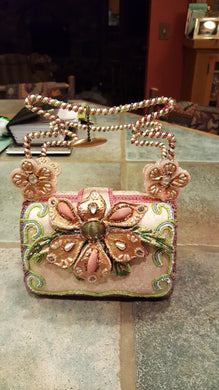 Mary Frances Pink Hand Bag with a Big Flower Retired Design