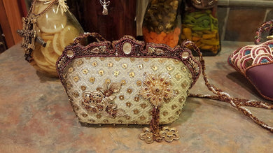 Mary Frances Green Hand Bag with Flowers Retired Design