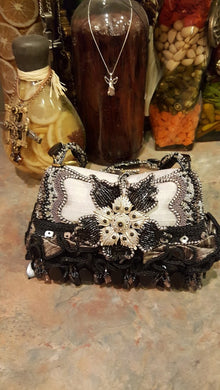 Mary Frances Handbag Black & Grey Ornate Retired Design