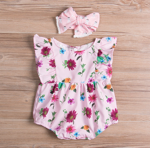 2 Pc Ruffled Romper