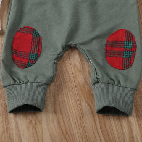 Plaid Patched Overalls
