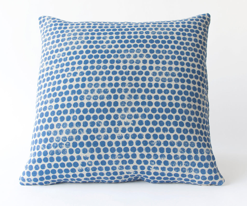 DOT BLOCK PRINT PILLOW IN DENIM BLUE
