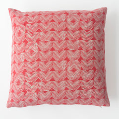 Cascade Block Print Pillow in Cherry Red
