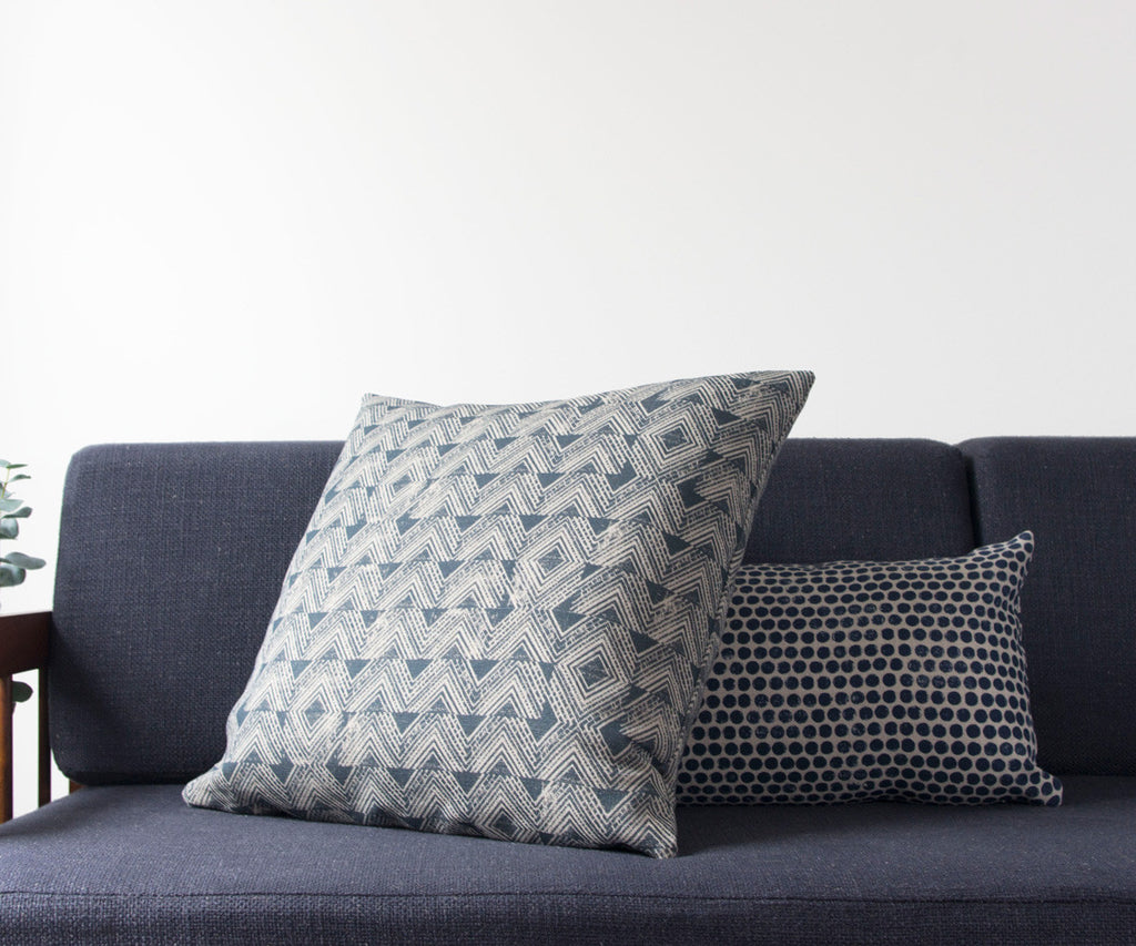 Cascade Block Print Pillow in Grey-Blue
