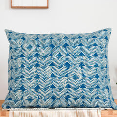 Cascade Block Print Pillow in Indigo