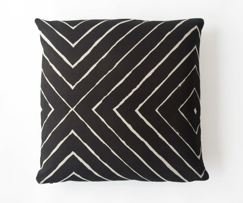 Pyramid Print Pillow in Black