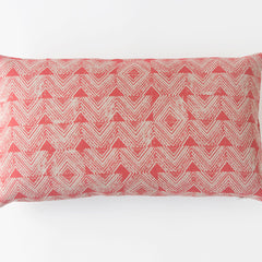 Cascade Block Print Pillow in Coral