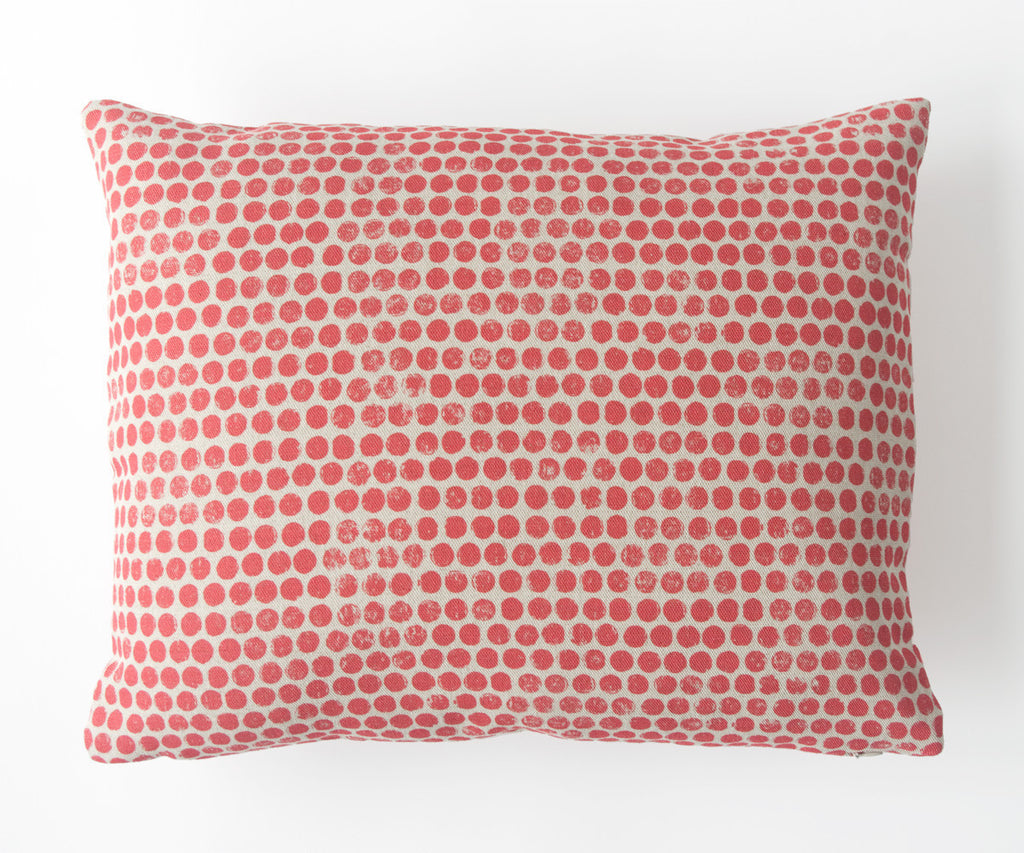 Dot Block Print Pillow in Coral