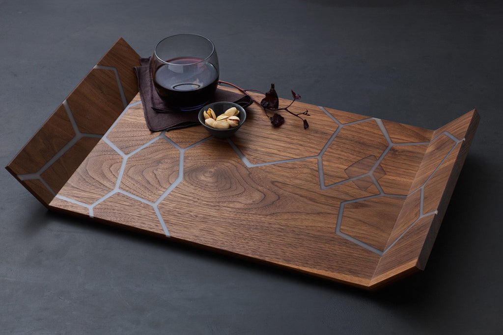 Honeycomb Tray - Walnut / White