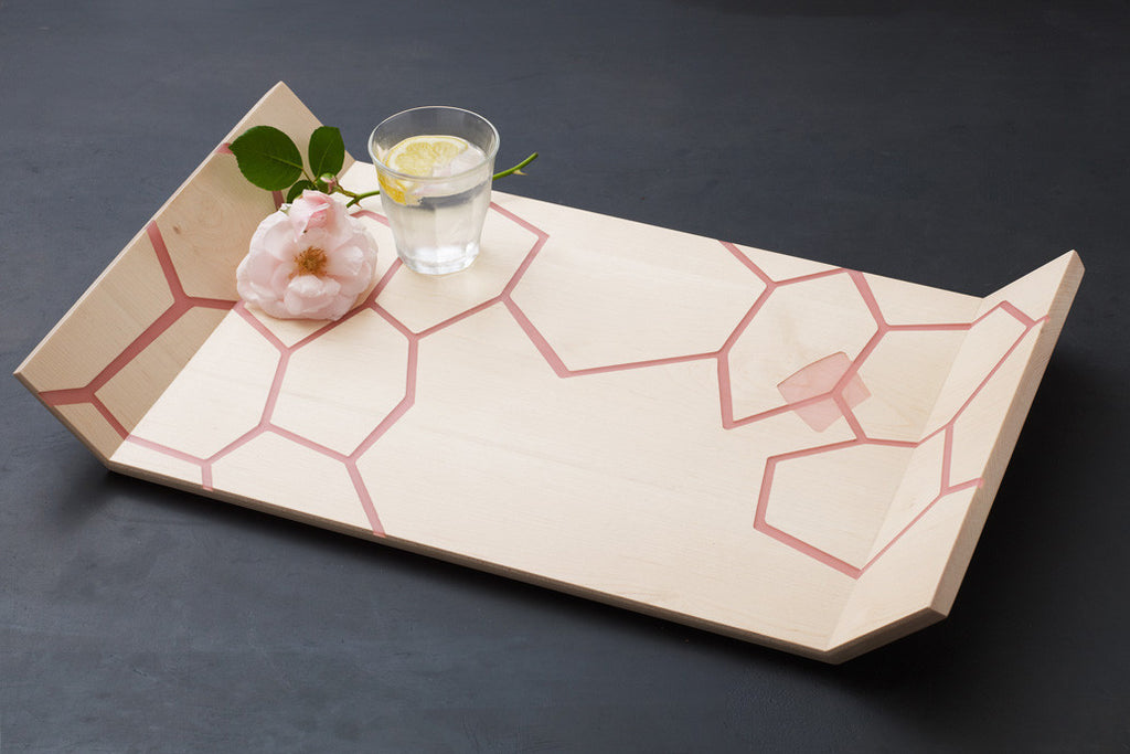 Honeycomb Tray - Maple / Pink