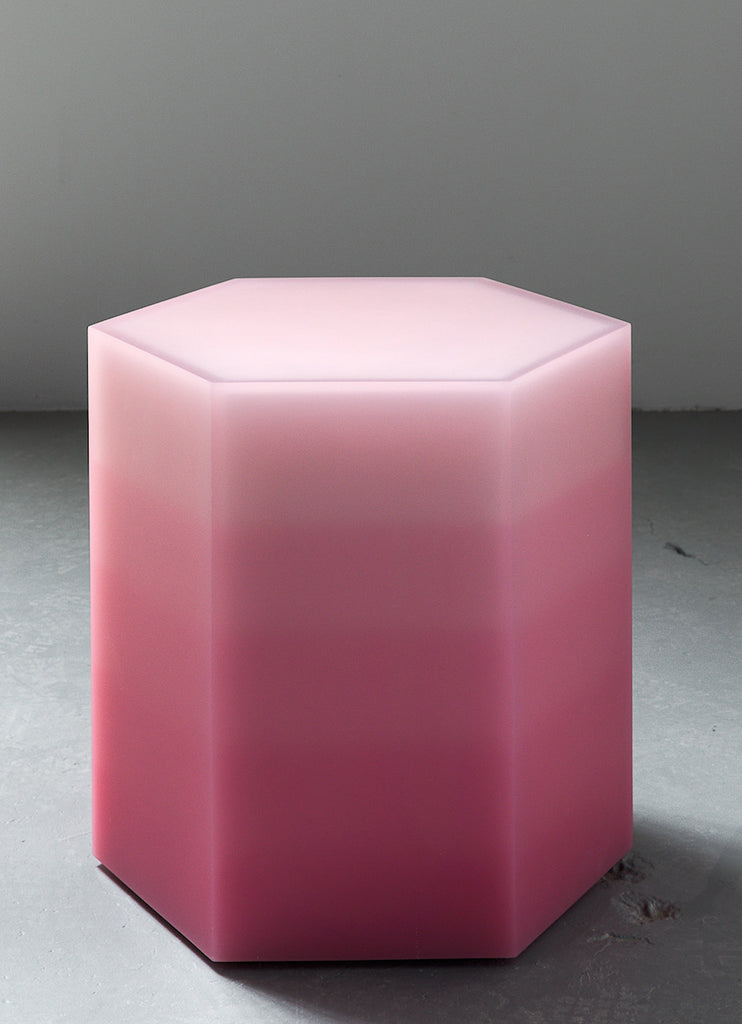 Hex Side Table / Stool, Gradient Pink
