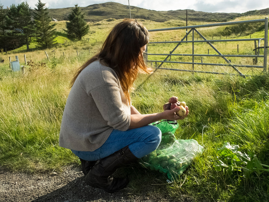 Mháiri with Her Potato Harvest, Torrisdale, Sutherland, 2014