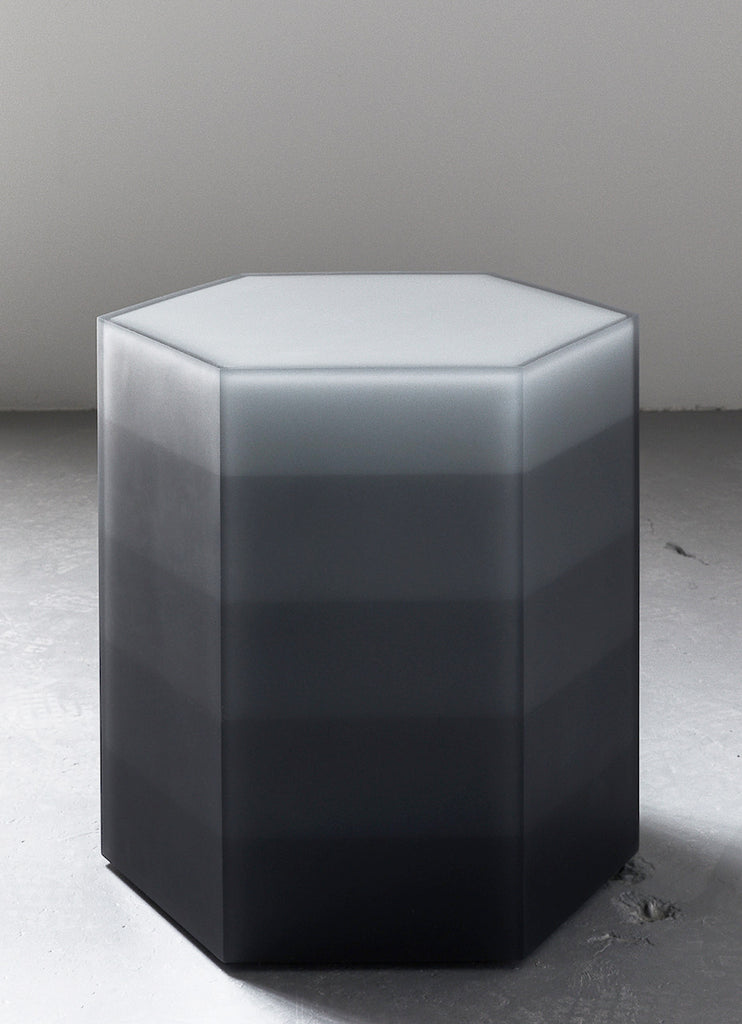 Beau Hex Side Table / Stool, Gradient Gray