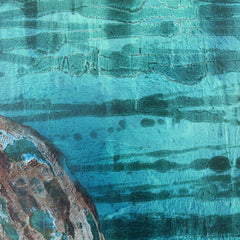 BLUE AND GREEN SEASCAPE WITH OBJECTS