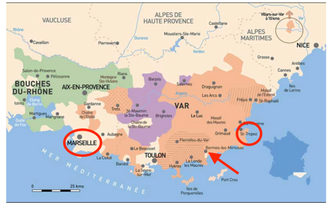 Map of southern France pointing to the location of the Domaine de la Sangliere Winery