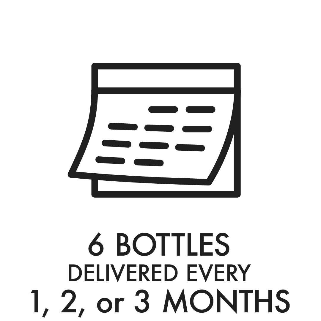 6 bottles delivered every 1, 2 or 3 months