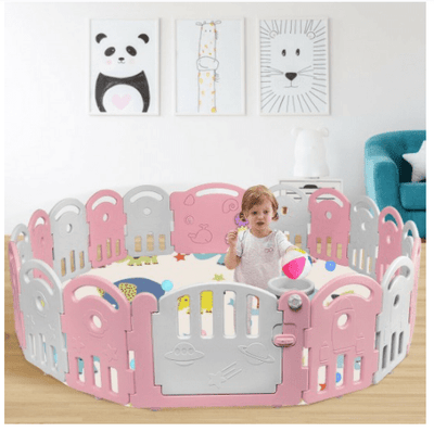 18-Panel Baby Playpen with Music Box & Basketball Hoop