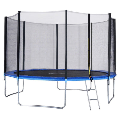 12' Foot Trampoline with Safety Enclosure Net & Ladder for Backyard