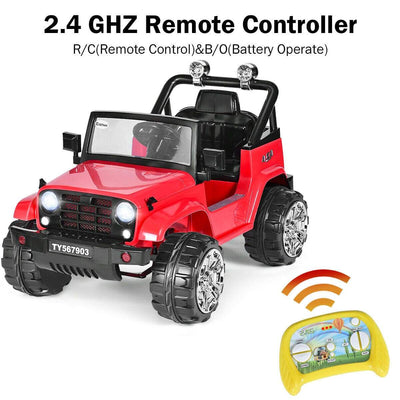 12V Kids Music Remote Control Ride on Jeep Car with LED Lights Cars & SUVs Costway