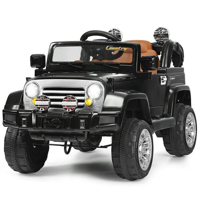 12V Kids Ride on Truck with MP3 + LED Lights Cars & SUVs Costway Black