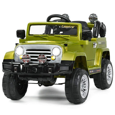 12V Kids Ride on Truck with MP3 + LED Lights Cars & SUVs Costway Green