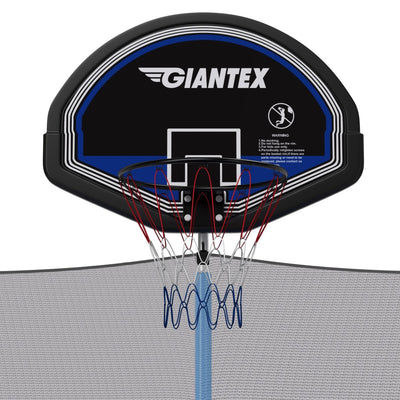15' Foot Trampoline with Safety Enclosure Net, Ladder, and Basketball Hoop