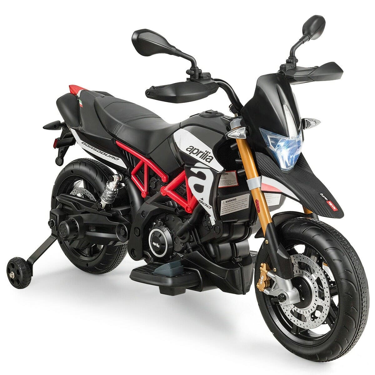 Aprilia Licensed 12V Kids Ride-On Motorcycle in Black