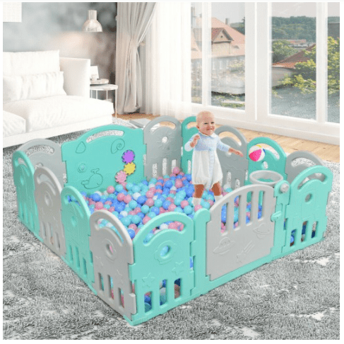14-Panel Baby Playpen with Music Box & Basketball Hoop