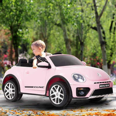Volkswagen Beetle 12V Kids Electric Ride on Cars Battery Powered Motorized Vehicles, Remote Control, Music, Bluetooth, Pink
