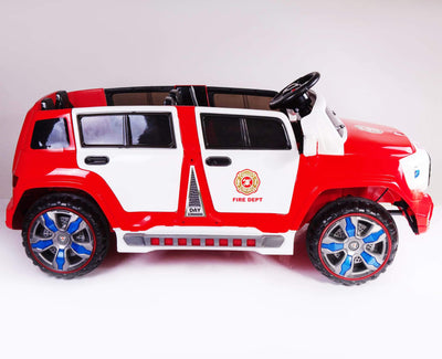 2-SEATER KID'S RIDE-ON FIRE TRUCK CAR 12V WITH REMOTE CONTROL | RED AND WHITE Fire Truck Mini Motos