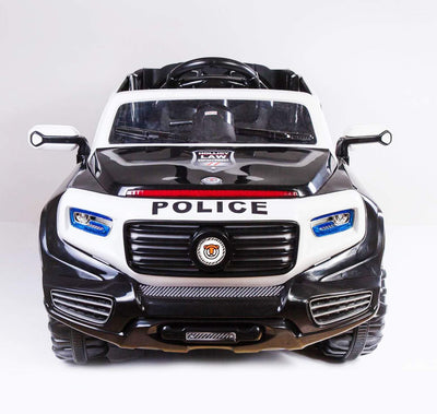 2-SEATER KID'S RIDE-ON POLICE CAR 12V WITH REMOTE CONTROL | BLACK Police Car Mini Motos