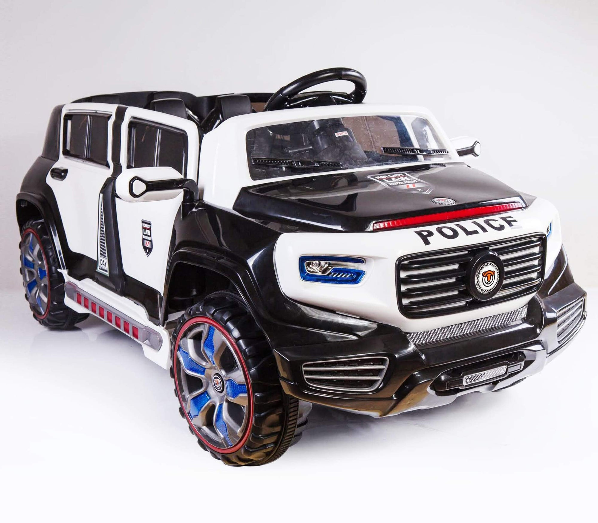 2 Seater Kid S Ride On Police Car 12v With Remote Control In Black Kidcarshop