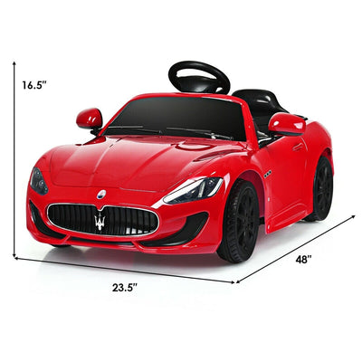 Maserati GranCabrio 12V Electric Kids Ride-On Car with Leather Seats, LED Lights, Music
