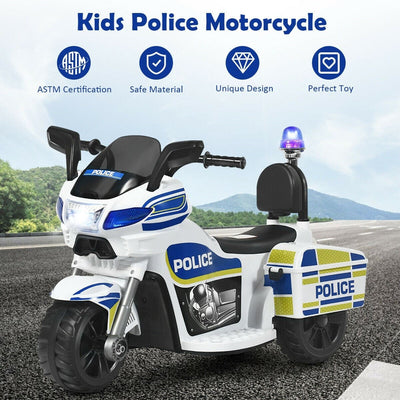 6V 3-Wheel Kids Police Ride On Car