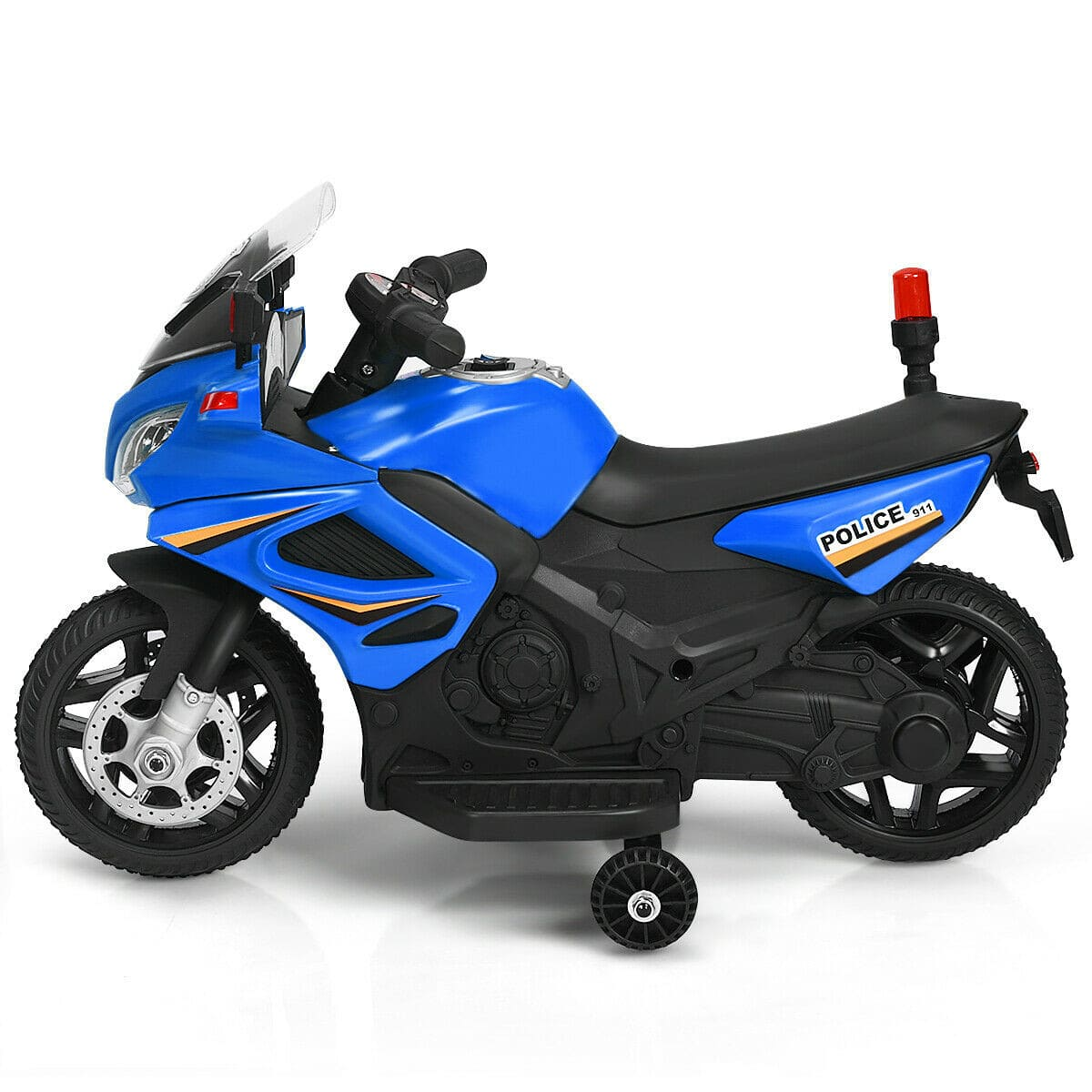 6V Battery Powered Kids Police Ride-On Motorcycle Bike with Training Wheels