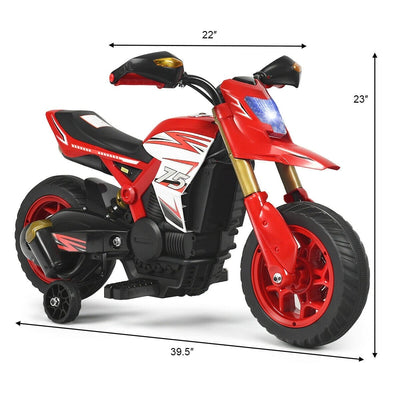 6V Battery Powered Kids Ride-On Motorcycle Bike with Training Wheels