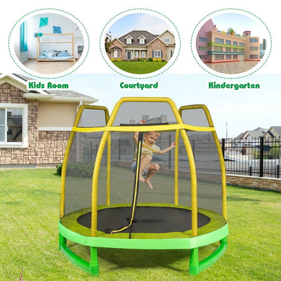 7' Foot Trampoline with Safety Enclosure Net