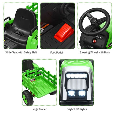 12V Kids Ride On Tractor with Trailer Ground Loader in Green