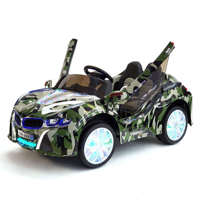 BMW i8 Inspired 1-Seater 12v Kids Ride-On Car in Camouflage Green - FREE SHIPPING