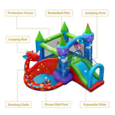 Dragon Castle Jumping Slide Inflatable Bounce House with 740W Air Blower - Free Shipping